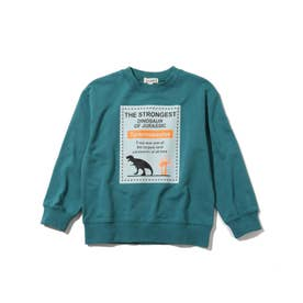 【90-130cm】ミニ裏毛スクエア恐竜プルオーバー (グリーン)