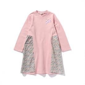 【90-130cm】ミニ裏毛サイド花柄切替ワンピース (ベビーピンク)