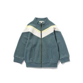 【100-140cm】Wフェイス配色ブルゾン (グリーン)