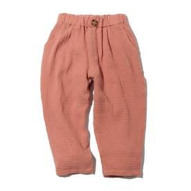 【90-130cm】Wガーゼ九分丈イージーパンツ (ピンク)