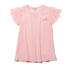 【90-130cm】ランダムテレコ袖チュールTシャツ (ベビーピンク)