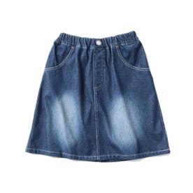 【90-140cm】ストレッチデニムジャージ台形スカート (ライトブルー)
