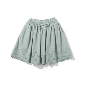 【90-130cm】スカラップレーススカート (ライトグリーン)