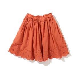 【90-130cm】スカラップレーススカート (オレンジ)