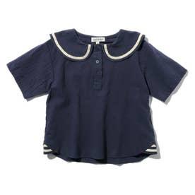 【90-130cm】刺しゅうロゴセーラー衿ブラウス (ネイビー)
