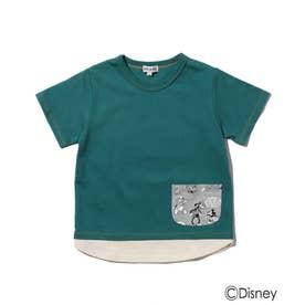 Disney/裾レイヤードポケットT (グリーン)