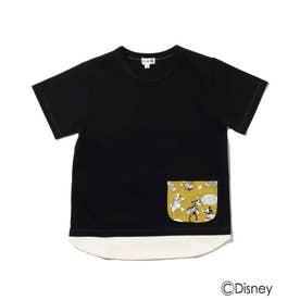 Disney/裾レイヤードポケットT (ブラック)