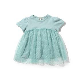 【90-140cm】ドットチュールドッキングパフ袖Tシャツ (ライトグリーン)