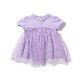 【90-140cm】ドットチュールドッキングパフ袖Tシャツ (ライトパープル)