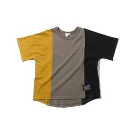 【90-130cm/接触冷感】切替配色Tシャツ (カーキ)
