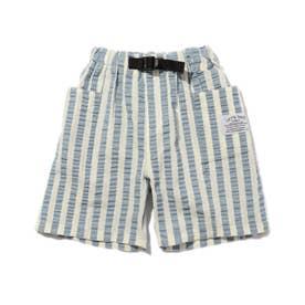 【90-150cm/吸水速乾】ストライプハーフパンツ (ブルー)