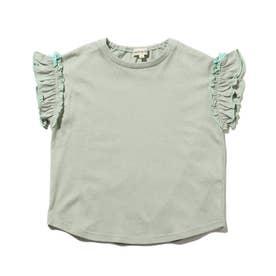 【90-140cm】ひんやり袖フリルTシャツ (ライトグリーン)