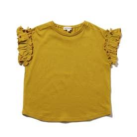【90-140cm】ひんやり袖フリルTシャツ (イエロー)