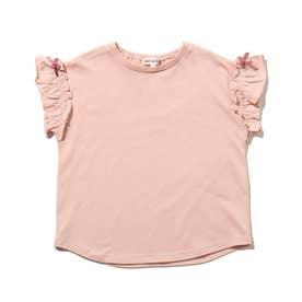 【90-140cm】ひんやり袖フリルTシャツ (ベビーピンク)
