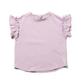 【90-140cm】ひんやり袖フリルTシャツ (ライトパープル)