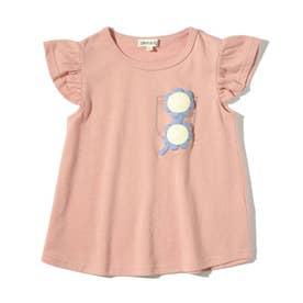 【90-130cm】フェイクプリントスカラップ袖Tシャツ (ベビーピンク)