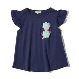 【90-130cm】フェイクプリントスカラップ袖Tシャツ (ネイビー)