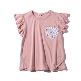【90-130cm】ハートポケット裾ラウンドTシャツ (ベビーピンク)
