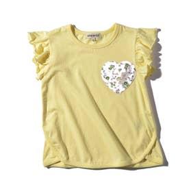 【90-130cm】ハートポケット裾ラウンドTシャツ (レモンイエロー)