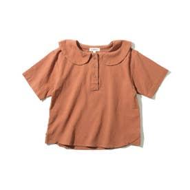 【90-140cm】セーラー衿ロゴ五分袖ブラウス (キャメル)