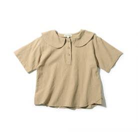 【90-140cm】セーラー衿ロゴ五分袖ブラウス (ベージュ)