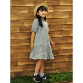 【親子リンク/100-140cm】KIDS裾フリルワンピ (ライトグリーン)