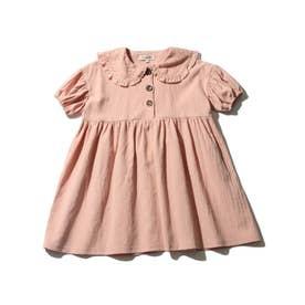 【90-130cm】レース衿ギャザー切替ワンピース (ベビーピンク)