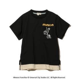 【ミニオン】裾レイヤードキッズT (ブラック)