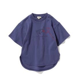 【つながる】赤い糸キッズTシャツ (ブルー)