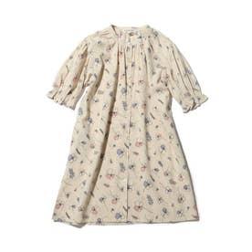 【90-140cm/リンク】キッズ花柄シャツワンピース (ライトベージュ)