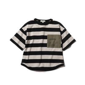 【90-140cm】太ボーダーポケットロゴ五分袖Tシャツ (ブラック)