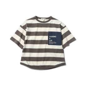 【90-140cm】太ボーダーポケットロゴ五分袖Tシャツ (タバコブラウン)