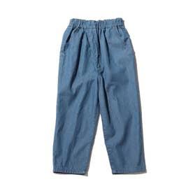 【90-140cm】ウエストラップデニムパンツ (ブルー)