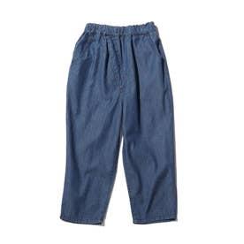 【90-140cm】ウエストラップデニムパンツ (ネイビー)
