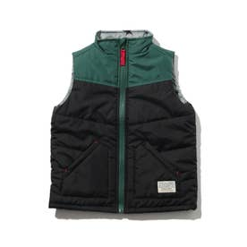 【90-140cm】中綿配色ベスト (ブラック)