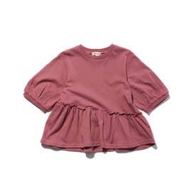 【90-130cm】ななめフリル切替5分袖プルオーバー (ラズベリーピンク)