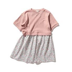 【90-130cm】ワッフルドッキング花柄ワンピース (ピンク)