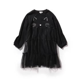 【90-130cm/ハロコレ】ネコチュールワンピース (ブラック)