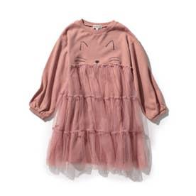 【90-130cm/ハロコレ】ネコチュールワンピース (ピンク)