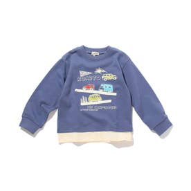 【90-140cm】裏毛裾レイヤード3柄トレーナー (ブルー)