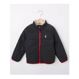 【80-130cm】フェイクファー&中綿リバーシブルジャンパー (チャコールグレー(014))