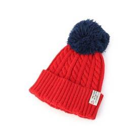 BIGポンポン配色ニット帽 (レッド(562))