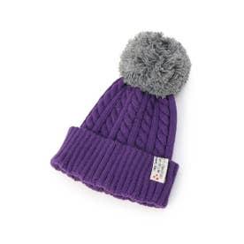 BIGポンポン配色ニット帽 (パープル(583))