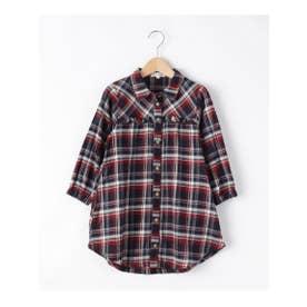 【90-130cm】フリルチェックシャツワンピース (ネイビー(293))