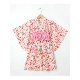【90-140cm】タキナガレ浴衣ワンピース (ピンク(162))