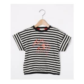 シューグー キッズ SHOO-LA-RUE(Kids) 【80-130cm】綿スラブプリントクルーネックTシャツ (ブラック)