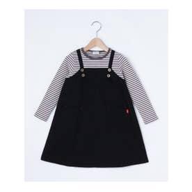 シューグー キッズ SHOO-LA-RUE(Kids) ◆【90-130cm】ボーダードッキング風ワンピース (ブラック)