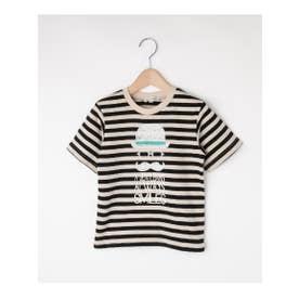 【80-130cm】フロッキーひげメガネTシャツ (ブラック(319))
