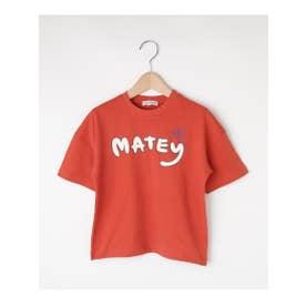 シューグー キッズ SHOO-LA-RUE(Kids) 【80-120cm】五分袖ロゴTシャツ (ダークオレンジ)