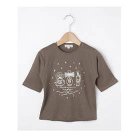 シューグー キッズ SHOO-LA-RUE(Kids) 【80-130cm】オーガニックコットン5分袖ハート/香水Tシャツ (タバコブラウン)